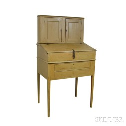 Mustard-painted Three-part Desk-on-stand