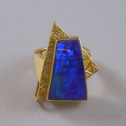 18kt Gold, Black Opal, and Diamond Ring