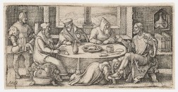 Hans Sebald Beham (German, 1500-1550)      Two Works: Christ at Table of Simon the Pharisee