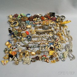 Large Group of Costume, Victorian, and Sterling Silver Jewelry