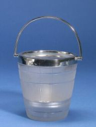 English Silver Mounted Glass Ice Bucket