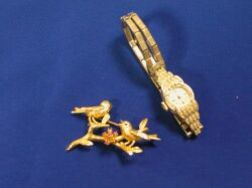 14kt Gold Figural Bird Pin and a Womans Hamilton 14kt White Gold and Diamond Wristwatch.