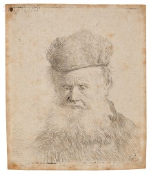 Rembrandt van Rijn (Dutch, 1606-1669)      Bust of an Old Man with a Fur Cap and Flowing Beard, Nearly Full Face, Eyes Direc