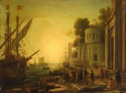 After Claude Gelee called Claude Lorrain (French, 1600-1682)  Seaport with the Landing of Cleopatra in Tarsus
