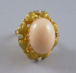 18kt Gold, Coral, and Diamond Ring.