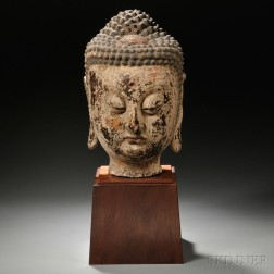 Large Wood Buddha Head