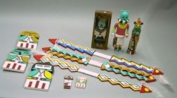 Eleven Native American Southwest Carved and Painted Wooden Articles