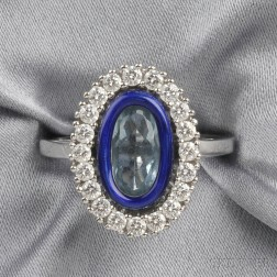 Platinum, Aquamarine, Enamel, and Diamond Ring, Fabergé