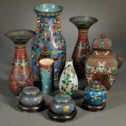 Nine Cloisonne and Champleve Items