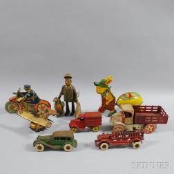 Five Tin Lithograph Toys and Three Painted Cast Iron Toys