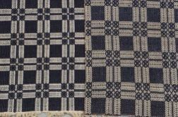 Two Blue and White Woven Overshot Wool and Cotton Coverlets