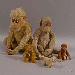 Five Early Articulated Mohair Animals