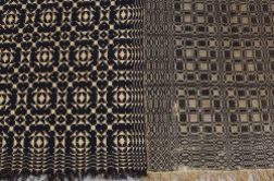Two Woven Wool and Cotton Blue and White Coverlets