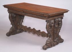 Good Renaissance Revival Carved Walnut Library Table