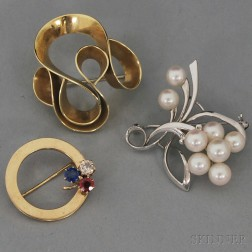 Three Signed 14kt Gold Brooches