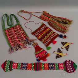 Six Multicolored Knit and Woven Wool Bags and Purses