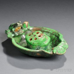 Weller Coppertone Frog Dish with Flower Frog