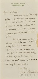 Remington, Frederic Sackrider (1861-1909) Autograph Letter Signed, [undated.]