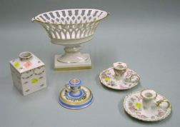 Five Assorted Continental Decorated Porcelain Table Items
