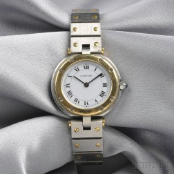 "18kt Gold and Stainless Steel ""Santos"" Wristwatch, Cartier"