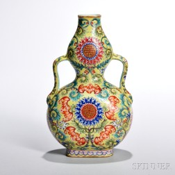 Famille Rose Double Gourd Wufu   Vase