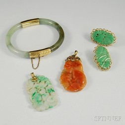 Small Group of Jade and Hardstone Jewelry