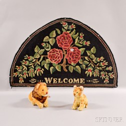 "Two Vintage Steiff Lions and a Hooked ""Welcome"" Rug.     Estimate $200-250"