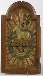 Oak Panel Carved and Painted with the Agnus Dei