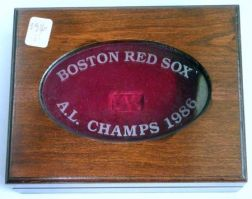 1986 Boston Red Sox American League Champs Etched Glass Inset Mahogany-finished Wooden and Red Velvet-lined Ring Box.