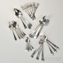 Thirty Pieces of Assorted George III Sterling Silver Flatware