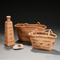 Four Makah Twined Basketry Items
