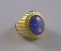 18kt Gold, Star Sapphire, and Diamond Ring