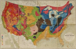United States. Charles Henry Hitchcock (1836-1919) and W.P. Blake. Geological Map of the United States Compiled for the 9th Census.