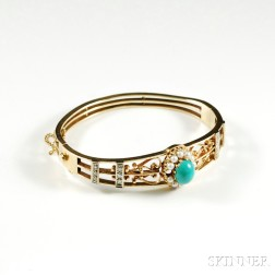 14kt Bicolor Gold, Turquoise, Pearl, and Diamond Bangle