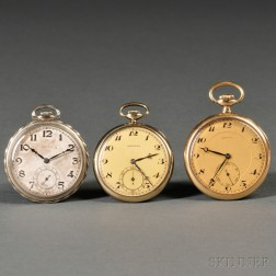 Three Swiss Gold Open Face Watches
