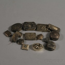 Fifteen Mostly Sterling Silver Match Safes and Pillboxes