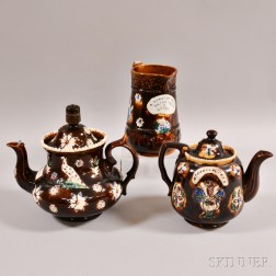 Two Bargeware Pottery Teapots and a Pitcher