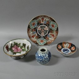 Four Cloisonne and Ceramic Items