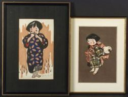 Lot of Two Prints by Saito Kiyoshi, A Little Girl in a Pensive Mood