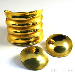 Gold-plated Cuff and Earrings