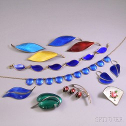 Group of Scandinavian Sterling Silver and Guilloche Enamel Jewelry