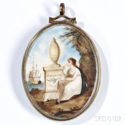 Miniature Watercolor Memorial to Admiral Lord Nelson