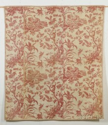 Red on White Copperplate Printed Cotton Toile Quilted Bedspread