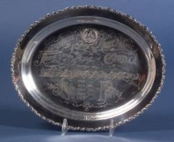 Whiting Manufacturing Co. Sterling Acid Etched Trophy Salver