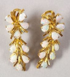 14kt Gold and Opal Cascading Earrings.