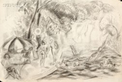 Attributed to Caroline Speare Rohland (American, 1885-1965), Lot of Two Works on Paper: Performance in the Park and Day at the Beach, U