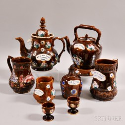 Eight Bargeware Pottery Tableware Items