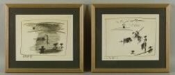Pablo Picasso (Spanish, 1881-1973)  Lot of Two Prints from A Los Toros.