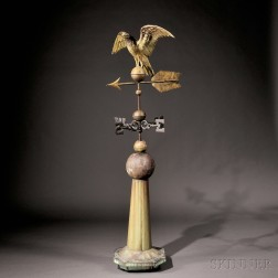 Gilt Molded Copper Eagle Weathervane with Directionals on Original Sheet   Copper Stand