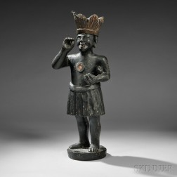 Carved and Painted Indian Tobacconist Countertop Figure